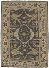 Vintage Style Floral Design Grey Oushak 4X6 Handmade Oriental Rug Foyer Carpet