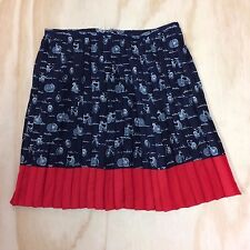 Tommy Hilfiger Bicycles Skirt Women's Size 8 Pleated Red White Blue