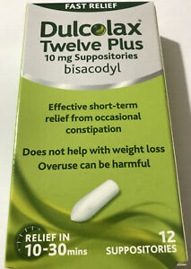 Dulcolax Fast Relief 10mg ADULT - 12 Suppositories |10-30min CONSTIPATION RELIEF