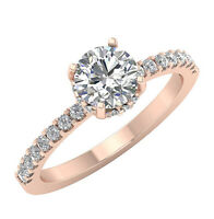 Solitaire Engagement Natural Round Diamond Ring I1 G 1.40 Ct 14K White Gold
