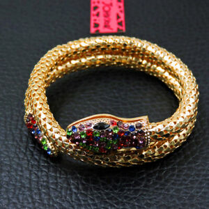 Hot Betsey Johnson Fashion Gold-plated crystal snake Women Bracelet Gift