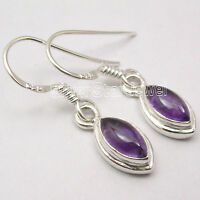 925 Sterling Silver MARQUISE AMETHYST HOOK Earrings 1.1 Inch Halloween Gift