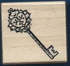 SKELETON KEY SWIRLS Occasion Card Gift Tag MEDIUM NEW Wood Mount RUBBER STAMP