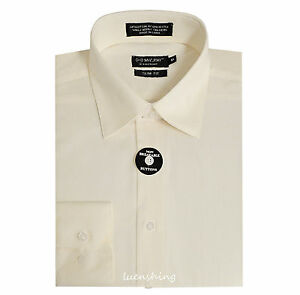 New men's slim fit shirt long sleeve pointed collar casual formal ivory