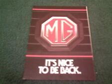 1982 MG METRO IT'S NICE TO BE BACK -UK HISTORY COLOUR FOLDER BROCHURE MGA MGB GT