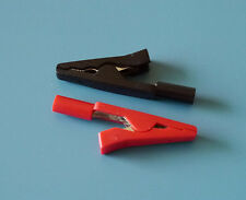 Crocodile Alligator Clips for 2mm Probe Tips (1 Pair Red and Black)