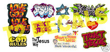 HO Scale Custom JESUS / GOD Graffiti Decals Set#3 - Weather Your Box Cars & More