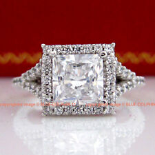 Vintage Genuine Solid 9ct White Gold Engagement Wedding Rings Simulated Diamonds