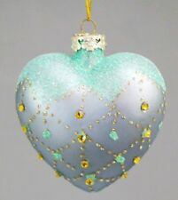 "Heart Blue Swarovski Ornament Glass Gold Crystal Gift Box 3.5"" Kurt Adler"