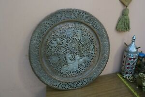 "Vintage Copper Hand Etched & Pierced 19"" Wall Table Tray Plate Deer Birds Flower"