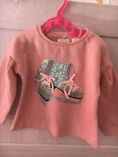 Baby Zara sparkly sequin pretty pink ice skating top long sleeve  6-9 month