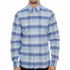 Fred Perry Textured Gingham Shirt Clay (blue) Size M Long Sleeves 85 GBP