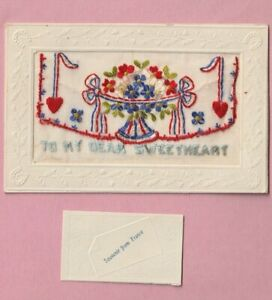 French Embroidered Silk postcard WW1 -  To my dear sweetheart, France 1918,