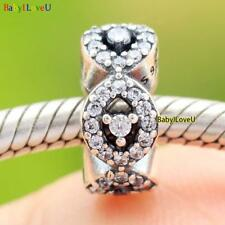 925 Sterling Silver Teardrop Cascading Glamour Spacer Charm Clear CZ Fi Bracelet