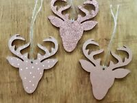 3 X Reindeer Stag Christmas Decorations Shabby Chic Wood Heart rose Gold silver