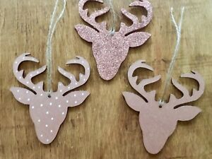 Reindeer Stag Head Christmas Tree Decorations Wooden rose Gold Glitter Set X3