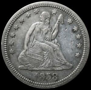 1858 SILVER USA SEATED LIBERTY QUARTER COIN EXTRA FINE CONDITION