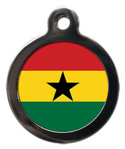 Pet ID tag Flag of Ghana design, personalised
