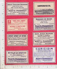 A969 Root's Pharmacy 8 bottle labels poison, medicine Brattlebobo, VT rhubarb