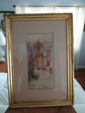 Antique Large Venice Canal Watercolor on Paper in Period Gold Leaf Frame c1880