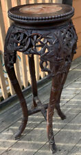 18c Antique Chinese Carved Wood Marble Plant Stand Table  Bamboo Carvings