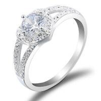 Women Bling Heart Crystal Zircon Finger Rings Wedding Bridal Jewelry Size 6-9