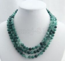 Gemstone Beads Necklace 51'' Long Aaa Handmade 8Mm Natural Green Emerald Round