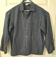 LL Bean Long Sleeves White Black Checkered - Large