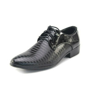 Men's Pointed Toe Wedding Shiny PU Leather Shoes Black Striped Lace Up Formal Sz