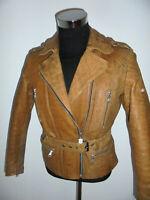 vintage HARRO Motorradjacke Lederjacke distressed motorcycle leather jacket 42