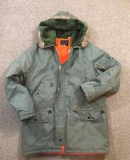 Vintage Jc Penney Military Style Parka Coat Jacket Hooded Green Medium Fair Fur