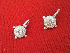 Judith Ripka Sterling Silver Diamonique Estate Pierced Earrings ~NWOT~