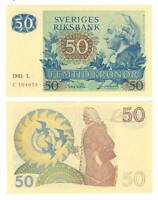 UNC SWEDEN 50 Kronor (1981 L) P-53c Banknotes Paper Money