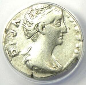 Diva Faustina AR Denarius Silver Roman Coin 147 AD - Certified ANACS VF30