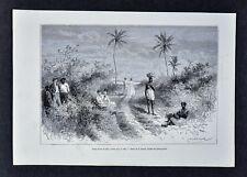 1880 Tour du Monde Print - Resting on the Road to Colon Panama Reclus Expedition