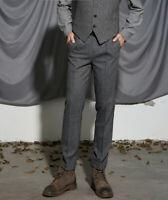 Retro Mens Herringbone Wool Tweed Trousers Straight Fit Smart Dress Suit Pants