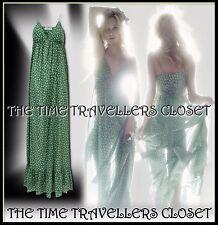 Kate Moss Topshop Grün Weiß Blatt abgestufte Tiered Maxi Kleid 60s Boho UK 6 8