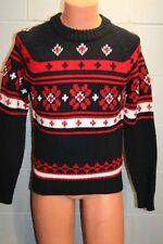 Mens S Vintage 80s Sigallo Snowflake Sweater Ski Snow Board Red Black White 1980