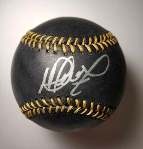 MLB Black Autographed Baseball MARTIN PEREZ Boston Red Sox with COA