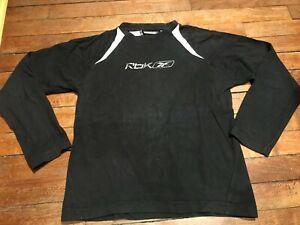 T shirt REEBOK 12 ans  manches longues, coton noir et blanc