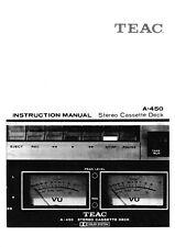 Bedienungsanleitung-Operating Instructions für Teac A-450
