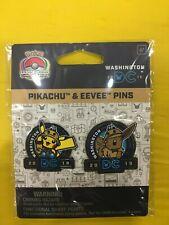 POKEMON WORLDS PIKACHU & EEVEE PIN COLLECTION 2019 WASHINGTON TRADING CARD GAME