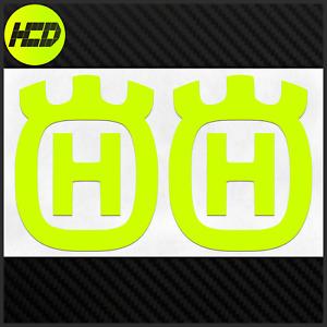 2 Fluorescent UV Yellow Husqvarna Safety Motorcycle Helmet Sticker Hi Viz