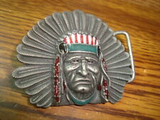 APACHE Native Indian Chief in Headdress Silver tone multi-color Belt Buckle
