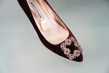 Manolo Blahnik | Hangisi Crystal-Buckle (Red/Velvet/EU 37)