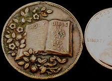 S854: Irish (Belfast) late 1800's Lord's Prayer Religious Scripture Medalet