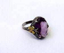 Large VINTAGE Sterling Silver Art Deco Nouveau Purple Rhinestone Solitaire Ring