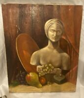 Signed oil painting on canvas mid century modern 18 x 20 inches