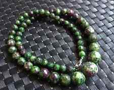 Faceted 6-14mm Green Zoisite Round Gems Beads Necklace 18""