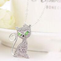 Girl Pendant Chain Fashion Jewelry Full Rhinestone Cute Cat Crystal Necklace